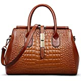 Jack&Chris Ladies Top Handle Tote Bag for Women Crocodile Embossed Purses and Handbags on Clearance, WBDZ024 (Brown)