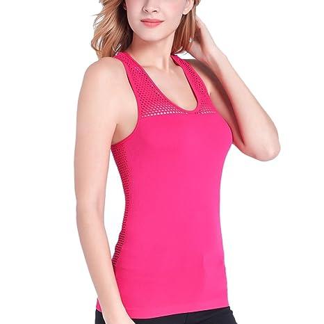 wongfon Mujer Sujetador de camisa Yoga Camisa de mujer Sport Tank Top con bajo banda de