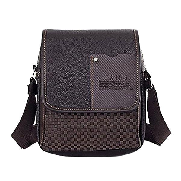 Bolso de cuero de la PU Mensajero de los hombres marrón/negro maletín portátil bandolera
