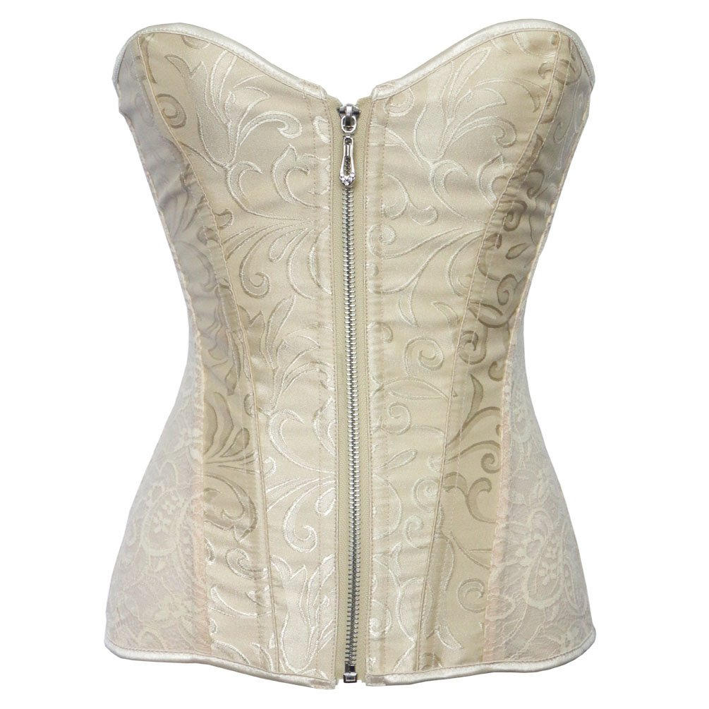 d7a0c33524 Romady Women s Lace Zipper Strapless Overbust Steel Boned Corset Top at  Amazon Women s Clothing store