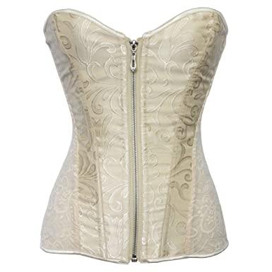 b956418f59e Romady Women s Lace Zipper Strapless Overbust Steel Boned Corset Top  X-Small Apricot