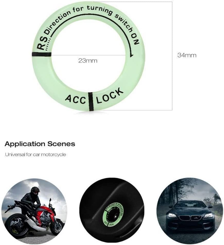 Festnight Car Ignition Switch Cover Luminous Key Ring Hole Cover Sticker