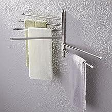 KES SUS 304 Stainless Steel Swing Out Towel Bar 6-Bar Folding Arm Swivel Hanger Bathroom Storage Organizer Rustproof Wall Mount, Brushed Finish, A2102S6-2