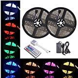 YIYUAN LED Strip Lights, 32.8Ft/10M 300LED Light Strip SMD 5050 Waterproof Flexible RGB Strip Lights with 44 Keys IR Remote for Ceiling Bar Counter Cabinet Lighting(RGB 10M Waterproof Strip)
