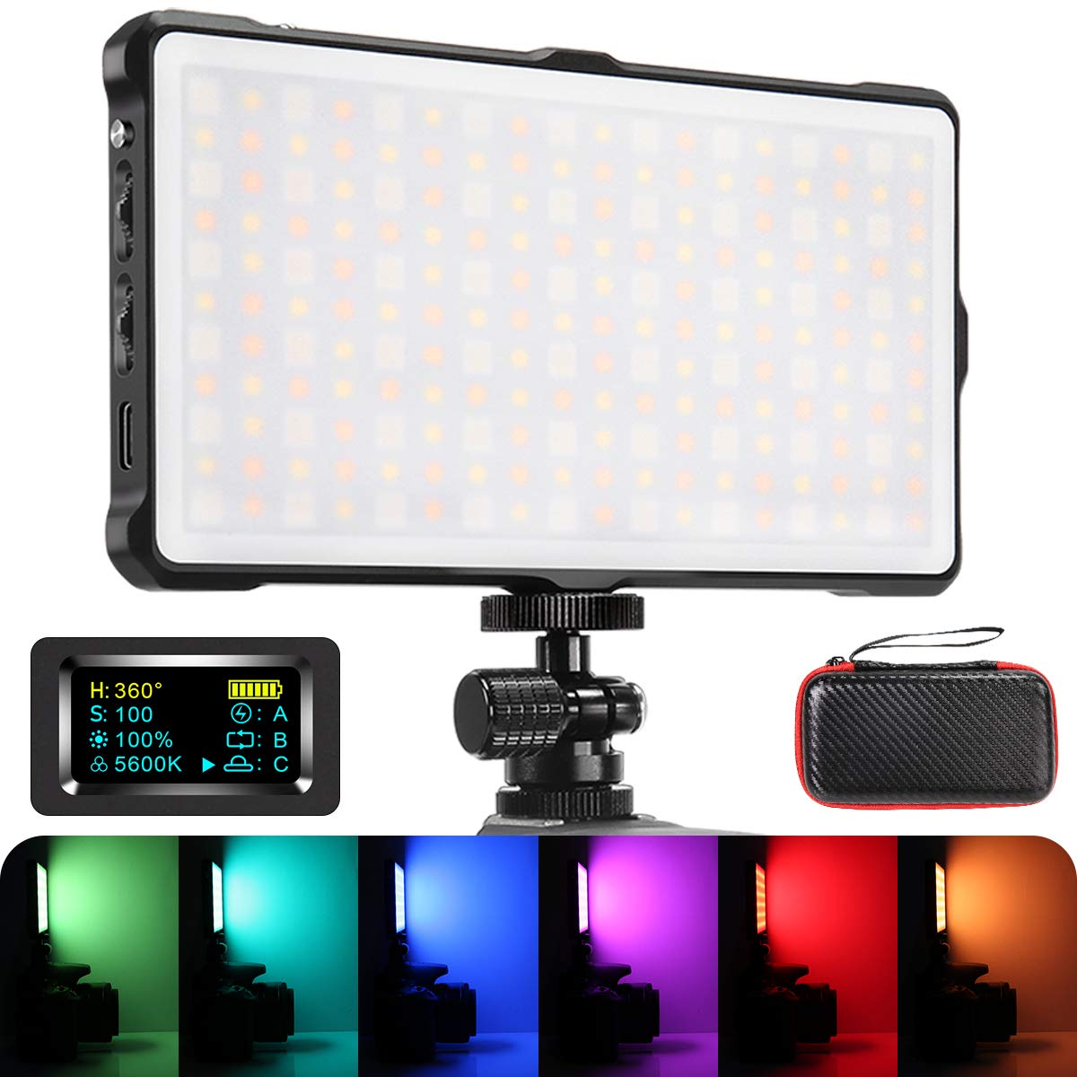 RGB Camera/Camcorder Video Light, Pixel LED Video Light Built-in 4040mAh Battery 360° Full Color 9 Lighting Effect, 3200-5600K CRI≥97 Pocket Size Light with Aluminum Alloy Shell by PIXEL