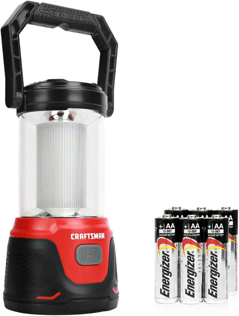 Craftsman CMXLLAG65285 500 Lumens LED Lantern Flashlight, 4 Lighting Modes for Home, Garden, Camping, Hiking, Fishing, Emergency, 6AA Alkaline Batteries Included