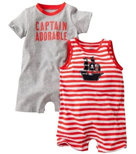 3e02ad3c1cac Amazon.com  Carter s Baby Boys 2pk Pirate Romper Set (Newborn ...