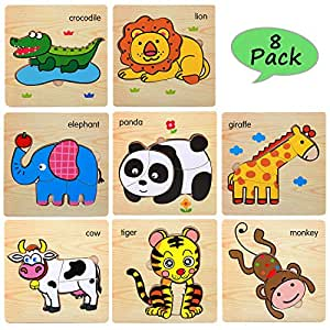 Amazon Com Wooden Jigsaw Puzzles For Toddlers Age 2 3 4 5
