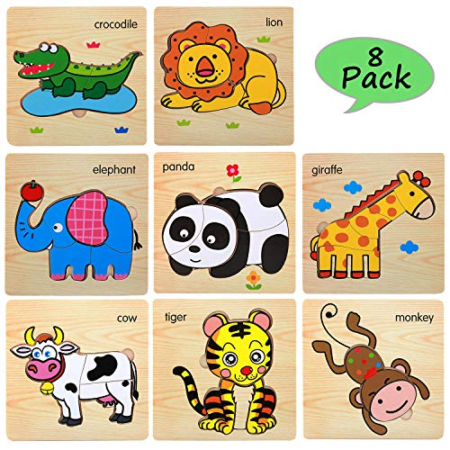 (Wooden Jigsaw Puzzles for Toddlers Age 2 3 4 5 Year Old   Preschool Animals Puzzles Set for Kids Children   Shape Color Learning Educational Puzzles Toys for Boys and)