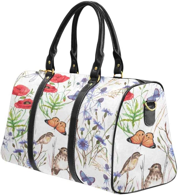 Poppy InterestPrint Carry-on Garment Bag Travel Bag Duffel Bag Weekend Bag Summer Meadow Flowers