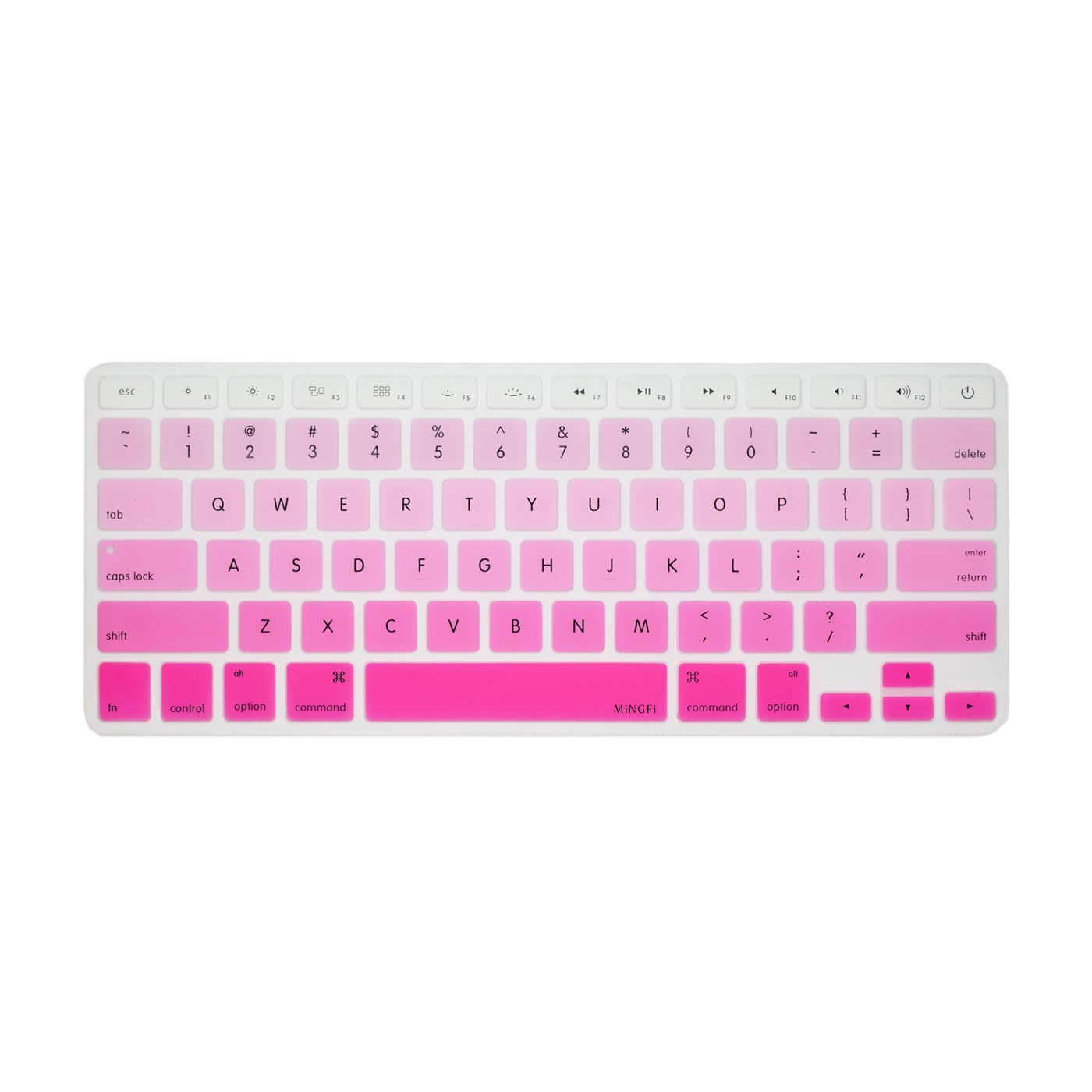 MiNGFi Anglais English Clavier Coque de Protection / Couverture pour MacBook Pro 13' 15' 17' et Air 13' US/ANSI Keyboard Disposition Silicone Skin - White to Pink PC06US07-03