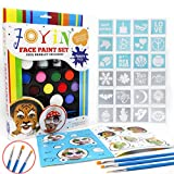 #3: Joyin Toy Face Paint Ultimate Party Pack - 12 Colors, 24 Stencils, 2 Glitter Gel, 3 Brushes and Idea Booklet Included, Easy on & Easy Off, Non-Toxic, Arts & Crafts for All Parties