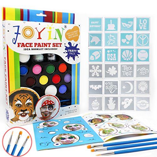 Joyin Toy Face Paint Ultimate Party Pack - 12 Colors, 24 Stencils, 2 Glitter Gel, 3 Brushes and Idea Booklet Included, Easy on & Easy Off, Non-Toxic, Arts & Crafts for Halloween Makeup ()