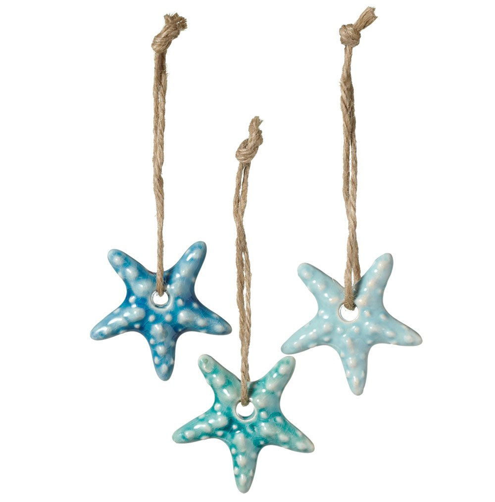 Set of 3 Assorted Midwest CBK Ceramic Coastal Ornaments on Jute Rope Hangers (Starfish) by Midwest-CBK