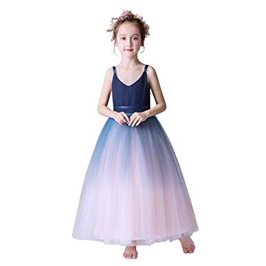 d4aca665d3f29 Weileenice® 子供服 女の子 ロングドレス フォーマル レース チュール プリンセス クリスマス ピアノ 発表会 結婚
