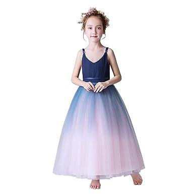 471df7768feac Weileenice® 子供服 女の子 ロングドレス フォーマル レース チュール プリンセス クリスマス ピアノ 発表会 結婚