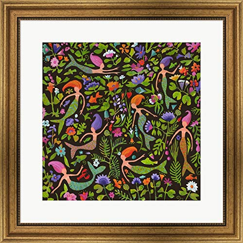 Bronze Mermaid Frame - Mermaids in a Floral Sea by Janet Nelson Framed Art Print Wall Picture, Wide Gold Frame, 24 x 24 inches