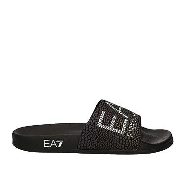 bc7cfff8e Emporio Armani Men's EA7 Logo Sliders, Black, 9.5 UK: Amazon.co.uk ...