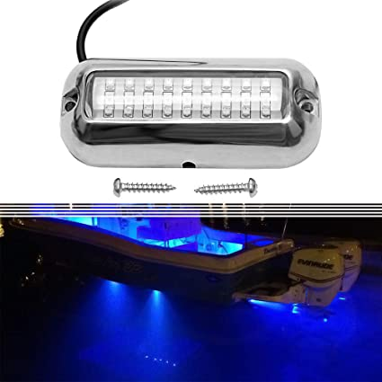 White Stainless Steel 27LED IP68 Underwater Pontoon Marine//Boat Transom Lights