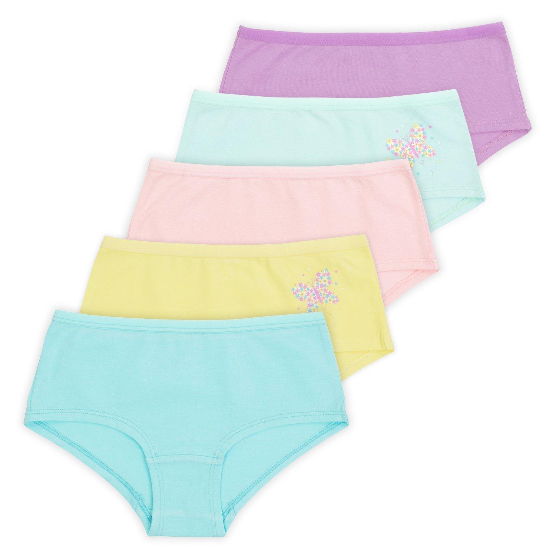 Lucky & Me Annika Girls Boy-Short, 5-Pack, Pastel Set, Tagless, 9/10