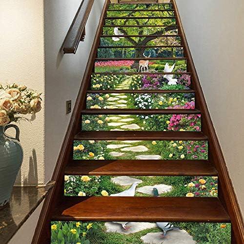 Amazon Com Flfk 13pcs Spring Flower Garden Birds Stair Stickers