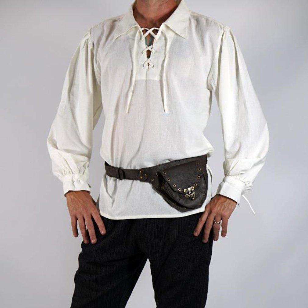 Uomo medievale rinascimentale stand letterario con scollo a V benda in  pizzo pirata hip hop cappotto allentato manica a sbuffo manica lunga  tradizionale ... 8b9f130cbe3