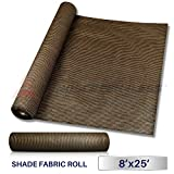 Windscreen4less Brown Sunblock Shade Cloth,95% UV Block Shade Fabric Roll 8ft x 25ft For Sale