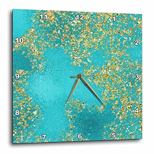3dRose Picturing Glitzy Glam Gold Aqua Wall Clock