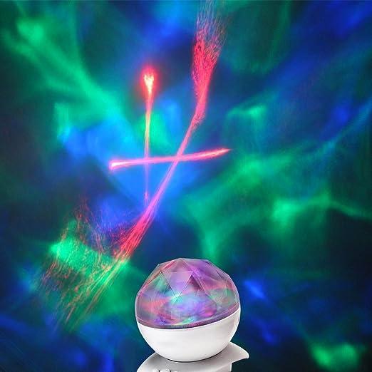 Esfera proyectora de auroras boreales con altavoz que cambia de ...