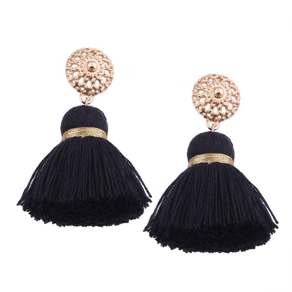 Aibelly Bohemian Retro Ethnic Short Tassel Statement Chandelier Dangle Drop Earrings New Fashion Handmade Thread Stud Earrings for Woman Girls
