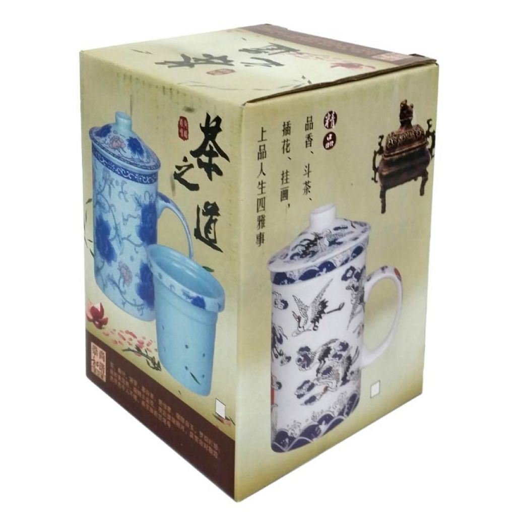 Porcelain Chinese Tea Mug with Infuser and Lid Ladies Cranes Pattern