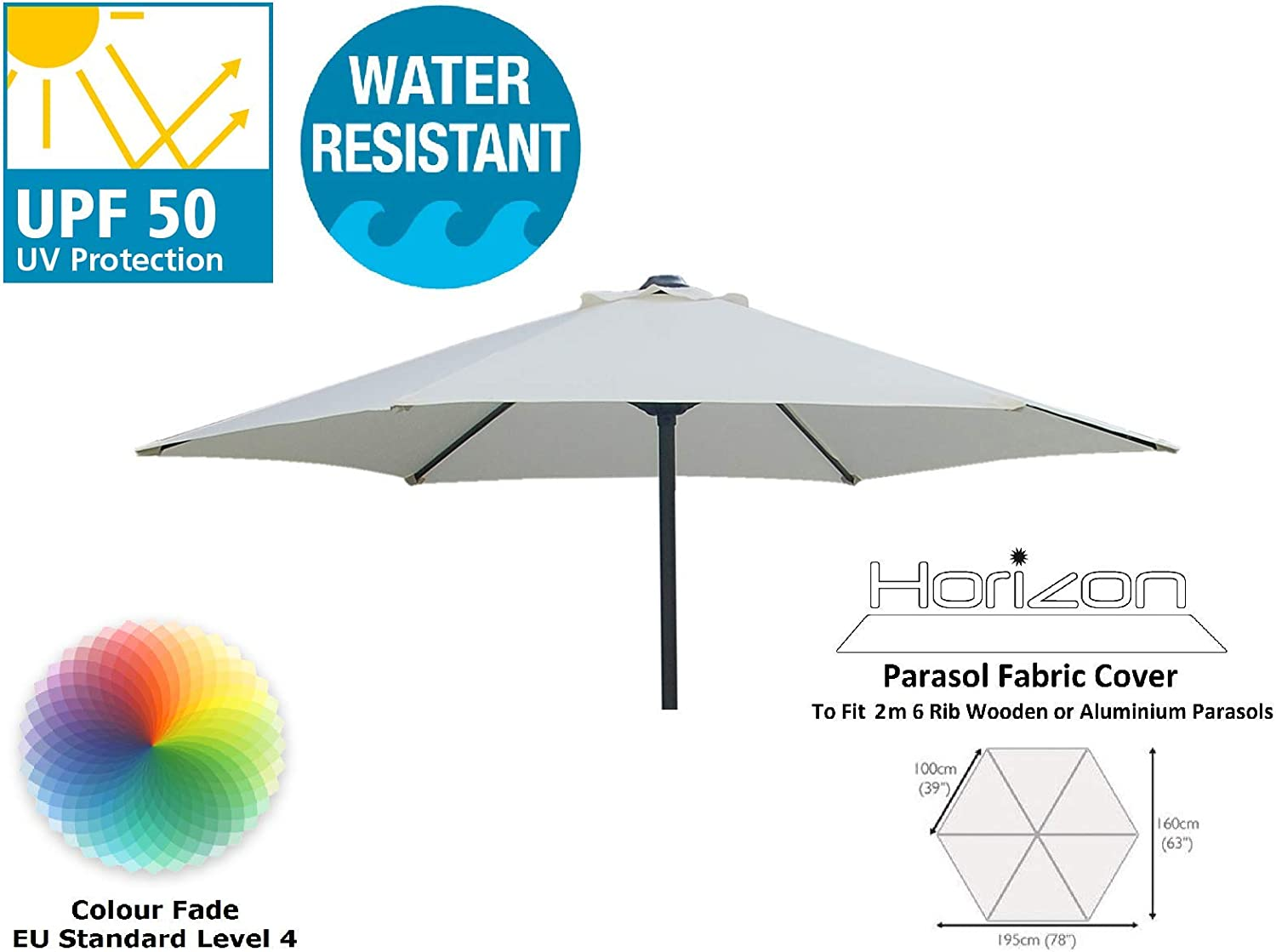 Grey HORIZON 2M REPLACEMENT PREMIUM PARASOL FABRIC COVER 6-ARMS 210G
