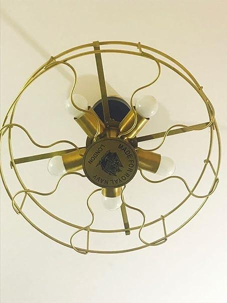 REGAL SURVEY Brass Metal Industrial Vintage Ceiling Light Hanging Fixture Lighting with 5 E27 Bulb Lights