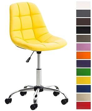 CLP Silla de Escritorio Emil en Cuero Sintético I Silla de Trabajo Moderna I Silla de Estudio Regulable en Altura & Giratoria I Color: Amarillo