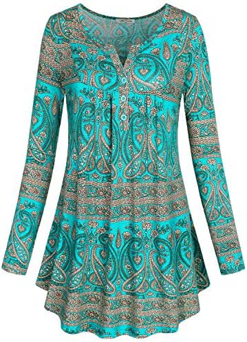 SeSe Code Women's Crewneck Long sleeve Floral Shirts Flared Casual Tunic Tops