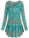 Plus Size Clothing for Women, SeSe Code Crewneck Flattering Long Sleeve Floral Shirts Flared Casual Tunic Tops Green XXL