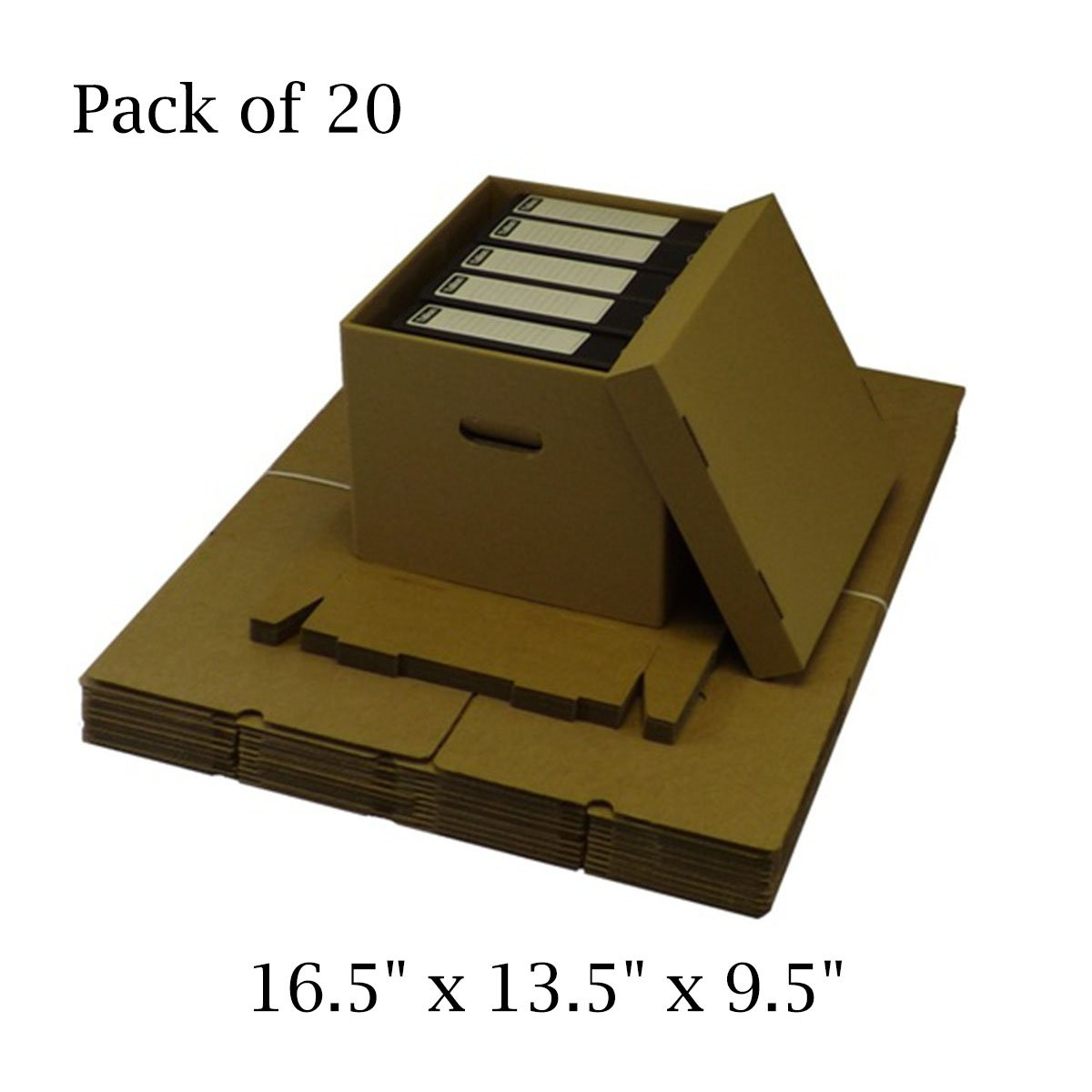 20 x Office Storage Archive Cardboard Box Filing with Lid and Carrying Handles 425 x 340 x 240mm / 16.5