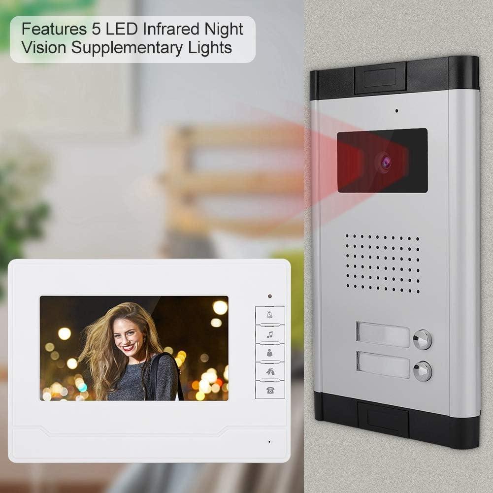 7 Zoll TFT HD Video T/ürsprechanlage Kit 1 Kamera 2 Monitore T/ürklingel Intercom System mit IR Nachtsicht wasserdicht 90 /° Betrachtungswinkel F/ür Wohngeb/äude B/üro EU Hotel