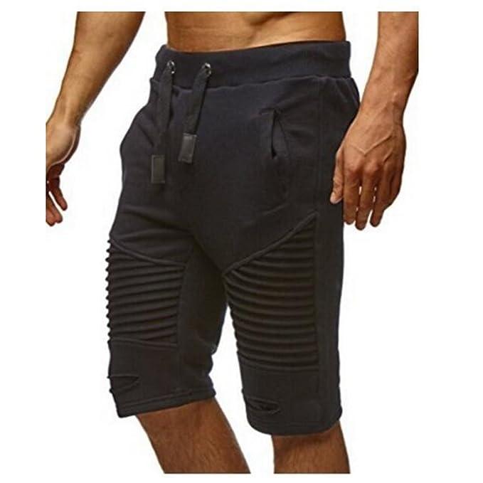 Yying Hombre Pantalones Cortos Deportivos - Bermudas Pantalones cortos con cordón Agujeros Doblar Moda Cintura Elástica