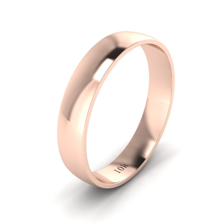 Unisex 10k Rose Gold 4mm Light Court Shape Comfort Fit Polished Wedding Ring Plain Band (10) by LANDA JEWEL