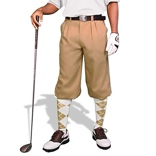 Edwardian Men's Pants Khaki Golf Knickers: Mens Par 3 - Microfiber $69.95 AT vintagedancer.com