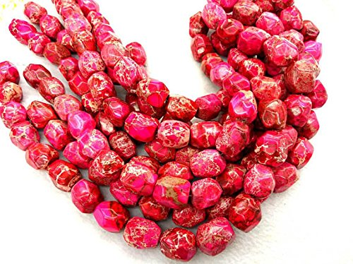 8X12mm Natural Imperial Jasper Stone,Cherry red nuggets freeform faceted beads Chunky Jasper Slabs Necklace ()