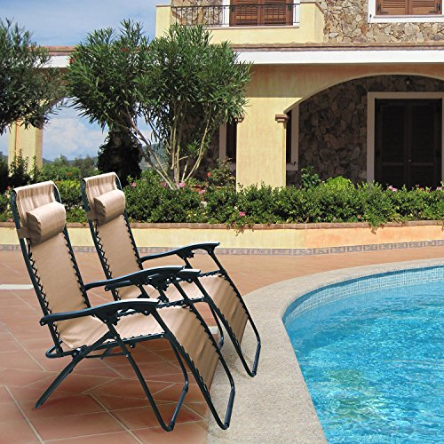 GPCT Ergonomically Designed Adjustable Compact/Collapsible/Folding Zero Gravity Recliner Chairs W/Pillow! Great for Outdoor, Patio, Pool Side, Beach Side, Yard, Home [2 Pieces] [Brown] by GPCT