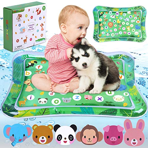 GINMIC Tummy Time Baby Water Play Mat, Inflatable Water Play Mat Fun Activity Play Center for Infants Boy & Girl - Baby Newborn Playmat Toys for 3 6 9 12 Months, Kids Indoor Climbers & Play Toys