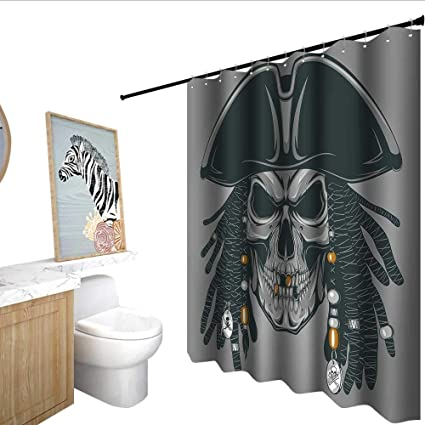 Homecoco Pirate Shower Curtain With Hooks Cruel Evil Dead Man Skull Corsair Rasta Hair And