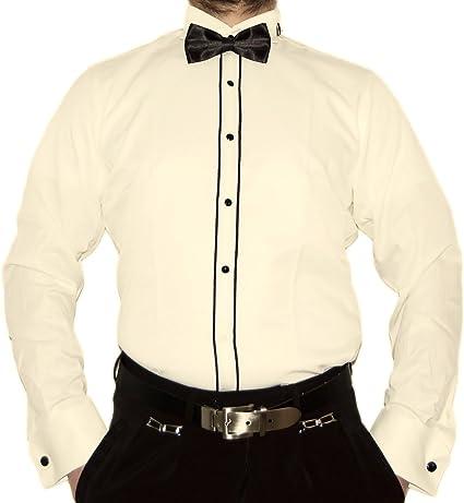 Farrabi Camisa de hombre para esmoquin con cuello entallado ...