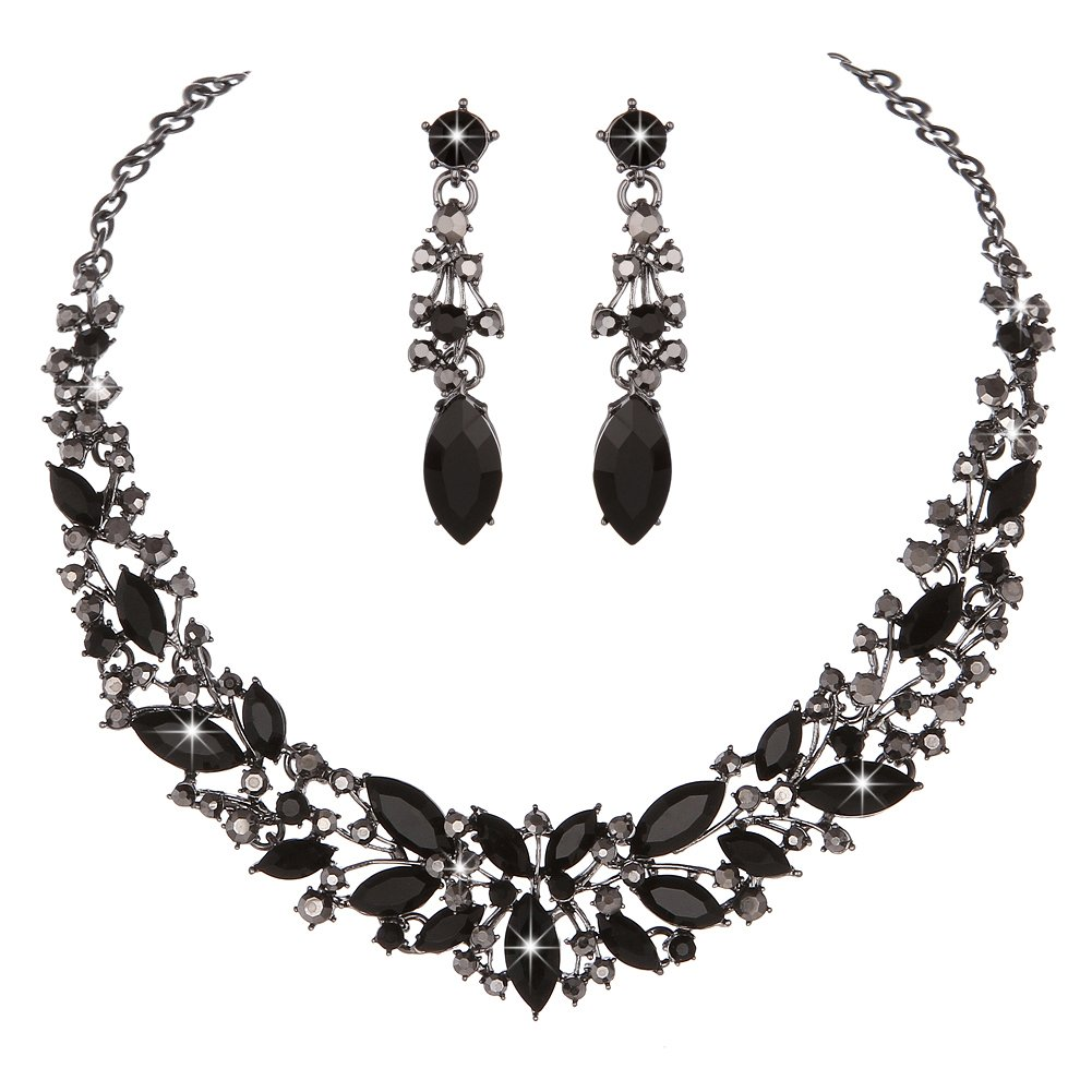 Youfir Austrian Crystal Rhinestone Bridal Wedding Necklace and Earrings Jewelry Sets for Women(Black)