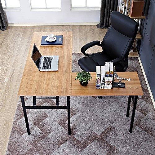 Need 55'' x 55'' L-Shaped Folding Computer Desk, One-Step Assembly, L Desk Home Office Desk Workstation Desk, Teak AC11BB by Need (Image #1)