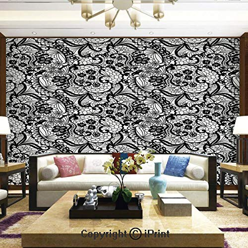 Lionpapa_mural Removable Wall Mural | Self-Adhesive Large Wallpaper,Lace Pattern with Flowers Floral Classic Handwork Needlecraft Style Art Decorative,Home Decor - 100x144 inches