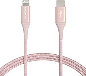 Amazon Basics Advanced Double Braided Nylon USB-C to Lightning Cable, MFi Certified Apple Charger for iPhone 12 (All Models), Phone 11 Pro/11 Pro Max - Rose Gold, 6-Foot